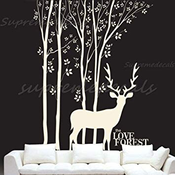 Custom Color PopDecals - Love Forest and Deer vinyl art wall decals home murals