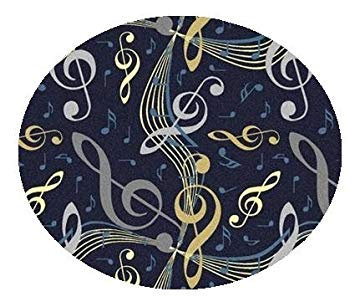 Virtuoso Music Notes Navy Blue - 5' ROUND Custom Stainmaster Premium Nylon Carpet Area...