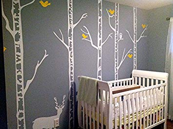 PopDecors - Trees Wall Decal Nursery Deer Baby Decal Winter Trees Wall Mural - Winter Cool Forest...