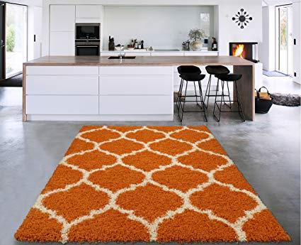 Sweethome Stores COZY3331-5X7 Shaggy Rug, 5'X7', Orange White Trellis