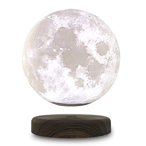 STSEETOP 3D Printing Maglev Magnetic Levituna Moon Zeegine LED Night light Wired Power 360 Rotation Floating Decorative Light with Wooden Holder for Wedding Decoration(Diameter:15cm/5.9inch))