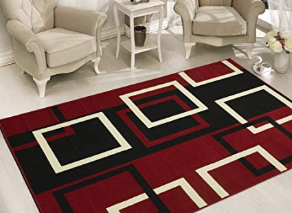 Sweet Home Stores Modern Boxes Design Area Rug, 8'2 X 9'10, Dark Red