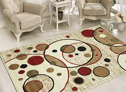 Sweet Home Stores Clifton Collection Modern Circles Design Area Rug, 8'2''x9'10'', Beige