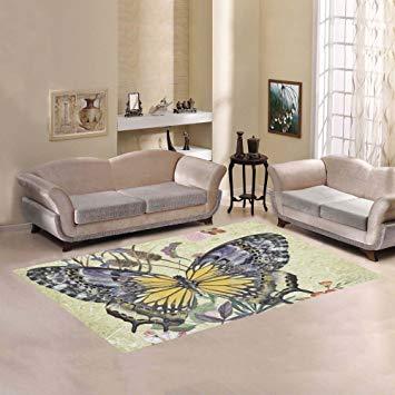 JC-Dress Area Rug Butterfly Modern Carpet 7'x5'