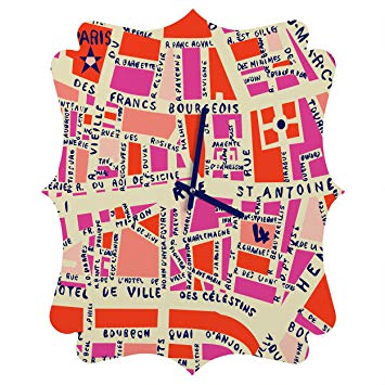 Deny Designs Holli Zollinger, Paris Map Pink, Quatrefoil Clock, Medium