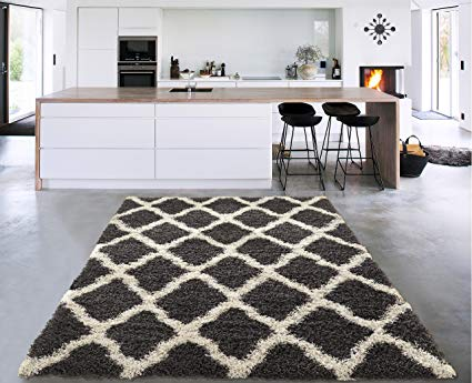 Sweet Home Stores Cozy Shag Collection Charcoal Moroccan Trellis Design Shag Rug Contemporary Living & Bedroom Soft Shaggy Area Rug, Grey/Cream