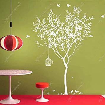Spring Tree with Bridcage (All White) - Beautiful Tree Wall Decals for Kids Rooms Teen Girls Boys...