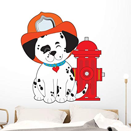 Wallmonkeys Dalmation Fire Dog Wall Decal Peel and Stick Graphic (48 in H x 44 in W) WM31039