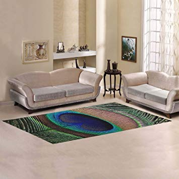 JC-Dress Area Rug Peacock Feather Modern Carpet 10'x3'3