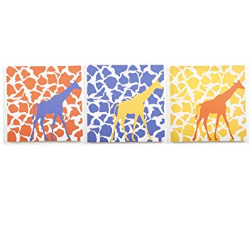 Modern Littles Rusty Walk Canvas Print Wall Decor, Giraffe, 3 Count (Discontinued by Manufacturer)