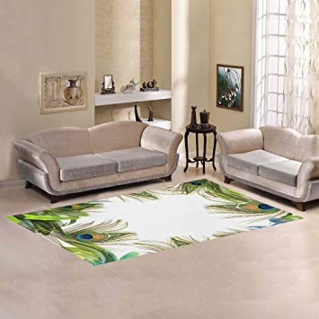 JC-Dress Area Rug Cover Peacock Feather Modern Carpet Cover 7'x3'3