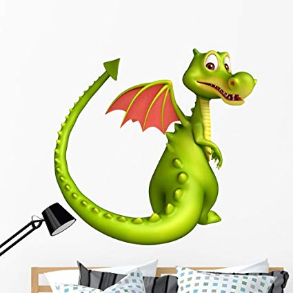 Wallmonkeys Cute Dragon Funny Cartoon Wall Decal Peel and Stick Vinyl Graphic (48 in H x 48 in W) WM368311