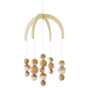 Petunia Pickle Bottom Dreaming in Dax Wooden Ceiling Mobile, Pink/White/Brown