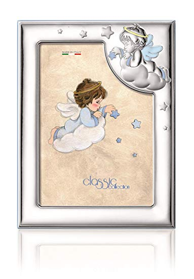 Silver Touch USA Sterling Silver Picture Frame, Angel, Blue, 3.5