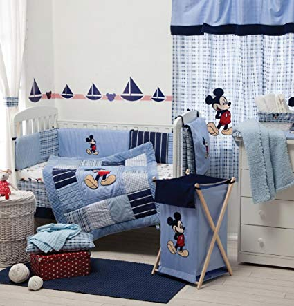 [Blue Mickey Mouse] Crib bedding Collection Accessory - Bumper