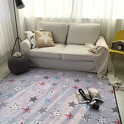 Cusphorn Large Stars Cotton Baby Kids Toddler Play Crawl Mat/Rugs, Cotton Area Rugs for infants