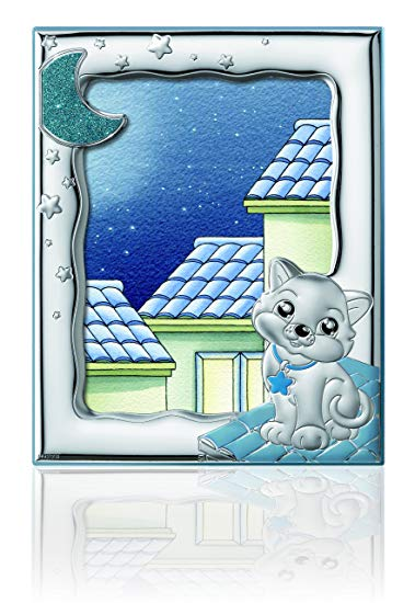 Silver Touch USA Sterling Silver Picture Kitty Frame, Blue, 5
