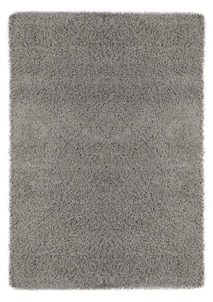 Ottomanson Soft Cozy Color Solid Shag Area Rug Contemporary Living and Bedroom Soft Shag Area Rug, Grey, 5'3