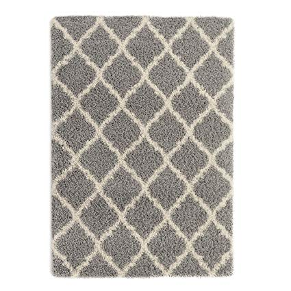 Ottomanson Ultimate Shaggy Collection Moroccan Trellis Design Shag Rug Contemporary Bedroom and Living room Soft Shag Rugs, Grey, 5'3