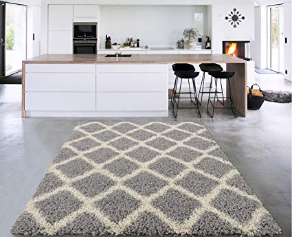 Sweet Home Stores Cozy Shag Collection Moroccan Trellis Design Shag Rug Contemporary Living & Bedroom Soft Shaggy Area Rug, Grey & Cream, 60