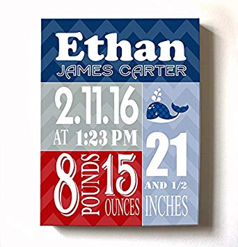 Personalized Stretched Canvas Birth Announcement Gift, Custom Baby Name, Date, Weight Stats, Unique...