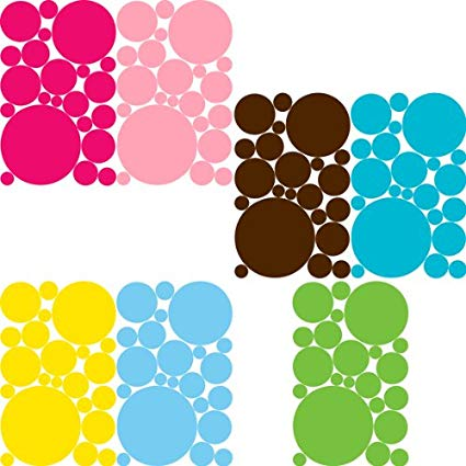 Multi Colored Removable Polka Dots Wall Stickers Set- Bright Pink, Baby Pink, Sea Blue, Robin Blue, Lime, Yellow & Chocolate Brown