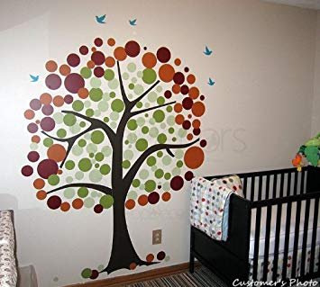 PopDecors - Baby Tree Wall Decal Removable Vinyl Wall Sticker - Polka Dot Tree- 81inch H- Tree Wall...