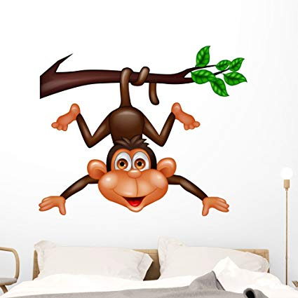 Wallmonkeys Funny Monkey Hanging Tree Wall Decal Peel and Stick Graphic (48 in W x 39 in H) WM255341