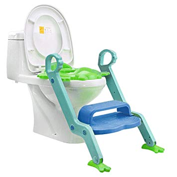 Jiyaru Baby Potty Training Toddler Toilet Ladder Child Seat Steps Assistant Orange + Green