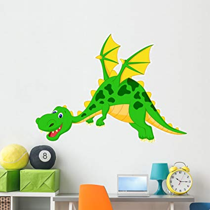 Wallmonkeys Happy Dragon Cartoon Flying Wall Decal Peel and Stick Graphic (60 in W x 44 in H) WM52155