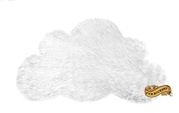 Baby Nursery Area Rug / Cloud Shaped Faux Fur Accent Throw / Sheepskin Shag (2'x3', Snow White)
