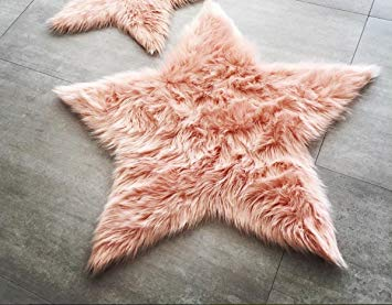 Machine Washable Faux Sheepskin Blush Star Area Rug 3' x 3' - Soft and silky - Perfect for baby's room,...