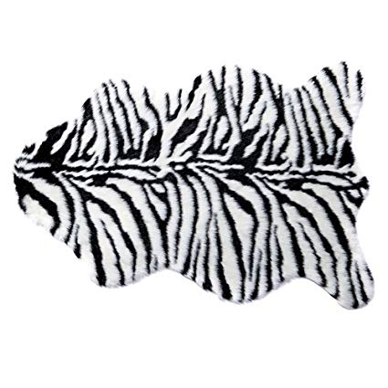 RugMall Pelt Shape Faux Fur Shaggy Rug 3 by 5 Feet Zebra-stripe