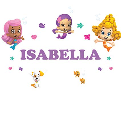 Oliver's Labels Personalized Bubble Guppies Girls Kids Name Wall Decal Sticker Life Size