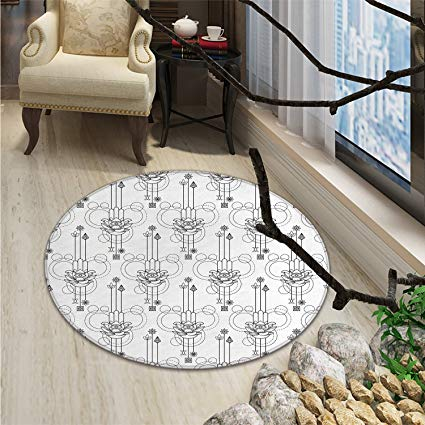 Hamsa print rug Geometric Elements Circles Lines and Dots Spiritual Esoteric Monochrome PersianOriental Floor and Carpets Black White