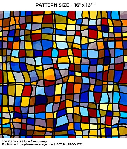 WindowPix 42 x 96 Symphony Stained Glass Pattern Window Film Static Cling Film UV Filtering Energy Saving