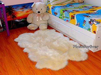 Summer Promo Sheepskin Quad Pelts Nursery Decor Flokati Shaggy Accent Throw Faux Rug(3' X 5' Feet)
