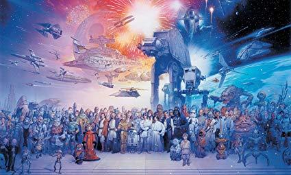 RoomMates JL1230M Star Wars Saga Prepasted Chair Rail Wall Mural