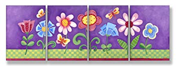 The Kids Room by Stupell Flower Garden On Purple Background 4-Pc. Rectangle Wall...