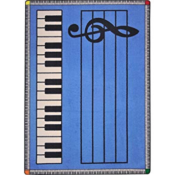 Joy Carpets Kid Essentials Music & Special Needs Play Along Rug, Blue with Keys, 7'8
